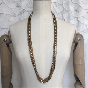 J. Crew Jewelry - J.Crew Gold Chain + Rhinestone Necklace LIKE NEW